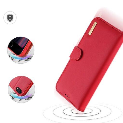 iPhone SE 2020 iPhone 8 iPhone 7 Dux Ducis Hivo Genuine Leather raamatkaaned punane 6
