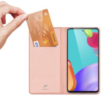 Samsung A52 kunstnahast kaaned kaarditaskuga DUX DUCIS Skin Pro roosa 3