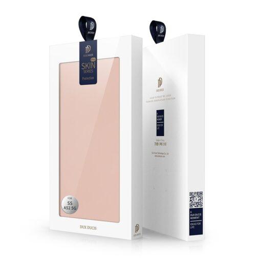 Samsung A52 kunstnahast kaaned kaarditaskuga DUX DUCIS Skin Pro roosa 4