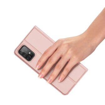 Samsung A52 kunstnahast kaaned kaarditaskuga DUX DUCIS Skin Pro roosa 5