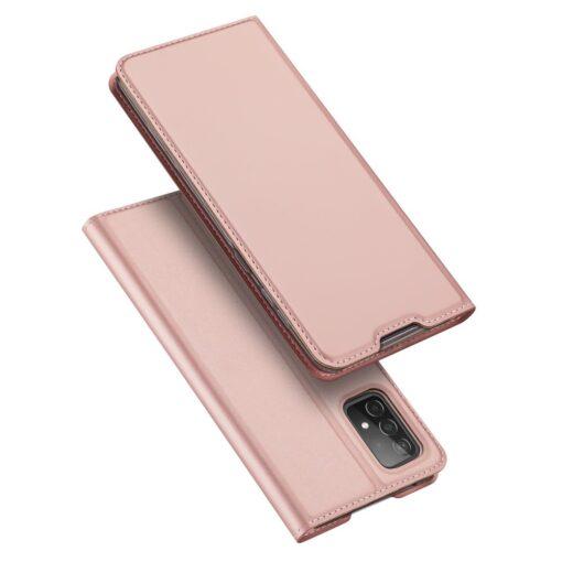 Samsung A52 kunstnahast kaaned kaarditaskuga DUX DUCIS Skin Pro roosa