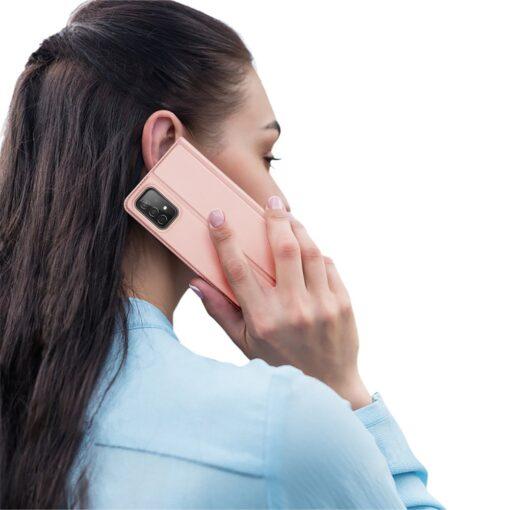 Samsung A52 kunstnahast kaaned kaarditaskuga DUX DUCIS Skin Pro roosa 8