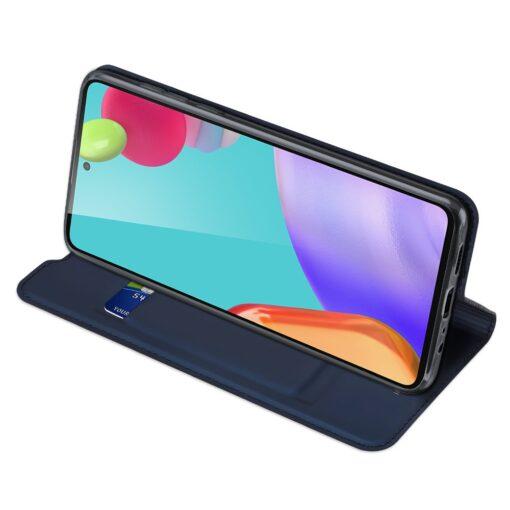 Samsung A52 kunstnahast kaaned kaarditaskuga DUX DUCIS Skin Pro sinine 3