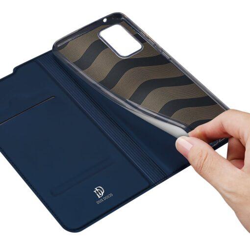Samsung A52 kunstnahast kaaned kaarditaskuga DUX DUCIS Skin Pro sinine 6