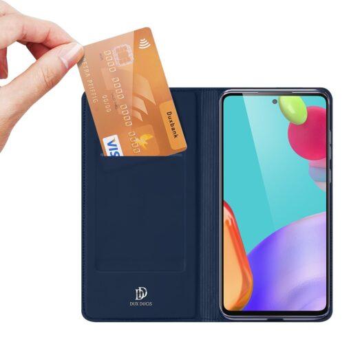 Samsung A52 kunstnahast kaaned kaarditaskuga DUX DUCIS Skin Pro sinine 7