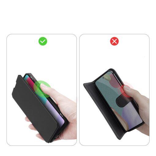 Samsung A52 kunstnahast kaaned kaarditaskuga DUX DUCIS Skin X must 10
