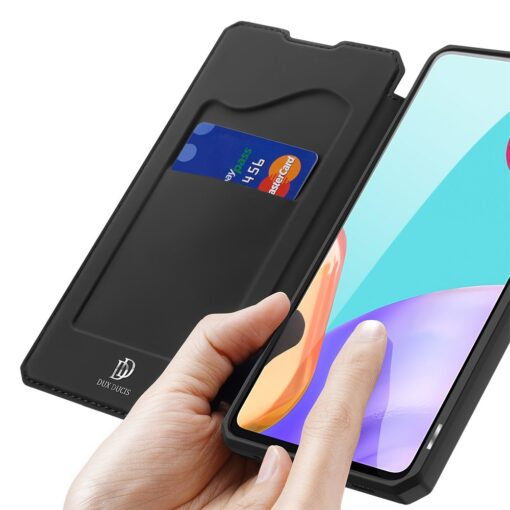 Samsung A52 kunstnahast kaaned kaarditaskuga DUX DUCIS Skin X must 2