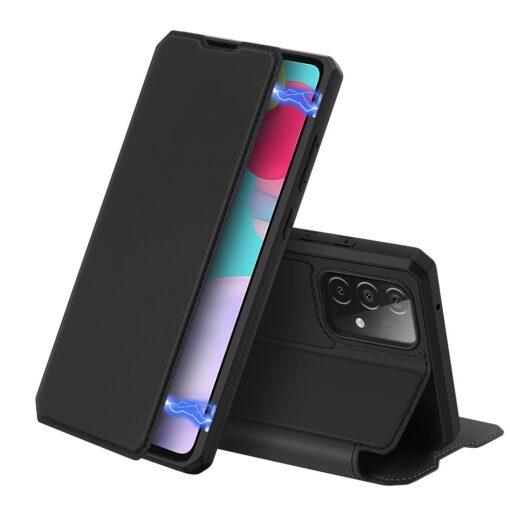 Samsung A52 kunstnahast kaaned kaarditaskuga DUX DUCIS Skin X must