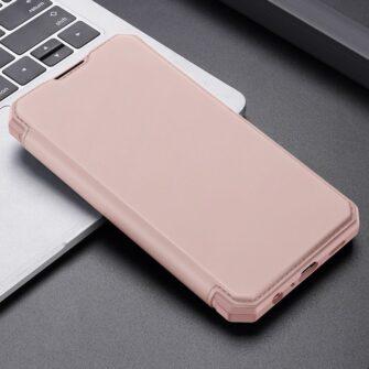 Samsung A52 kunstnahast kaaned kaarditaskuga DUX DUCIS Skin X roosa 11