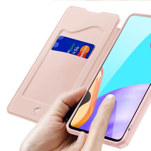 Samsung A52 kunstnahast kaaned kaarditaskuga DUX DUCIS Skin X roosa 2