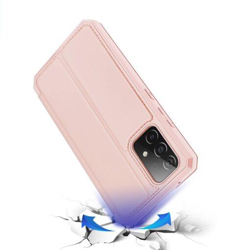 Samsung A52 kunstnahast kaaned kaarditaskuga DUX DUCIS Skin X roosa 3