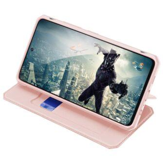 Samsung A52 kunstnahast kaaned kaarditaskuga DUX DUCIS Skin X roosa 5