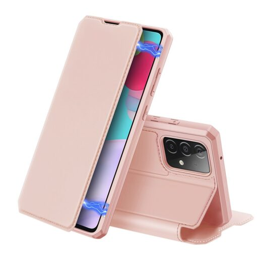 Samsung A52 kunstnahast kaaned kaarditaskuga DUX DUCIS Skin X roosa