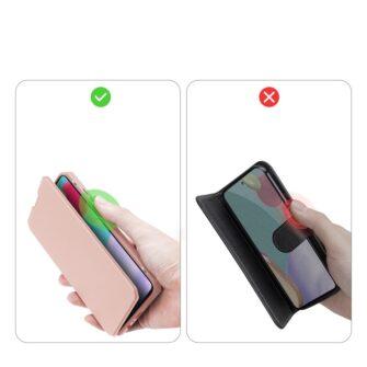Samsung A52 kunstnahast kaaned kaarditaskuga DUX DUCIS Skin X roosa 8