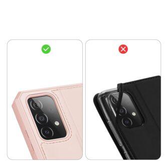 Samsung A52 kunstnahast kaaned kaarditaskuga DUX DUCIS Skin X roosa 9