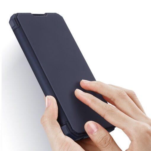 Samsung A52 kunstnahast kaaned kaarditaskuga DUX DUCIS Skin X sinine 1