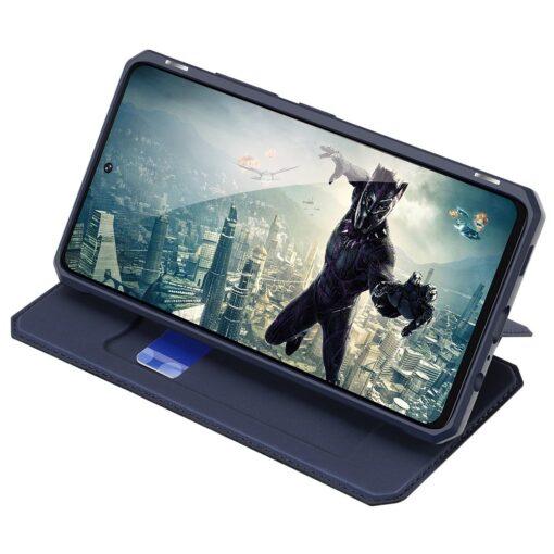 Samsung A52 kunstnahast kaaned kaarditaskuga DUX DUCIS Skin X sinine 10