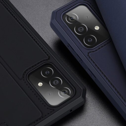 Samsung A52 kunstnahast kaaned kaarditaskuga DUX DUCIS Skin X sinine 13