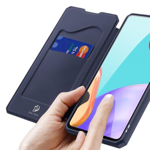 Samsung A52 kunstnahast kaaned kaarditaskuga DUX DUCIS Skin X sinine 2
