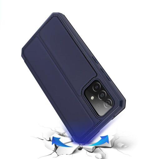 Samsung A52 kunstnahast kaaned kaarditaskuga DUX DUCIS Skin X sinine 3
