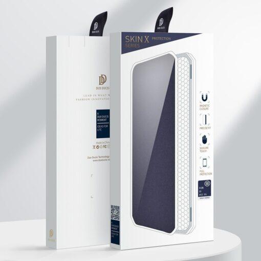Samsung A52 kunstnahast kaaned kaarditaskuga DUX DUCIS Skin X sinine 4