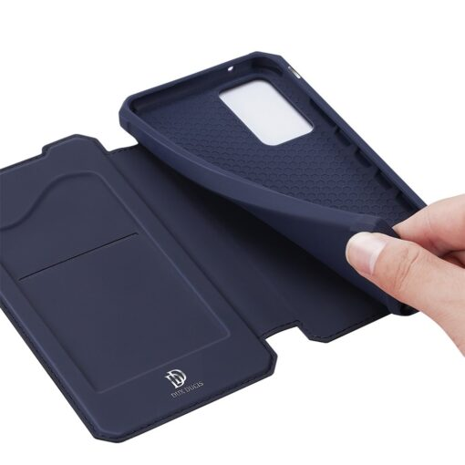 Samsung A52 kunstnahast kaaned kaarditaskuga DUX DUCIS Skin X sinine 5