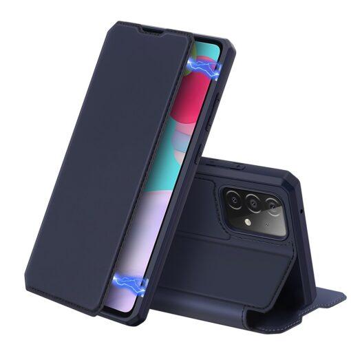 Samsung A52 kunstnahast kaaned kaarditaskuga DUX DUCIS Skin X sinine