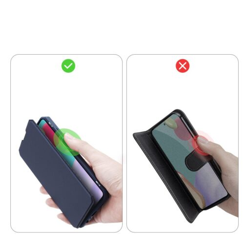 Samsung A52 kunstnahast kaaned kaarditaskuga DUX DUCIS Skin X sinine 7