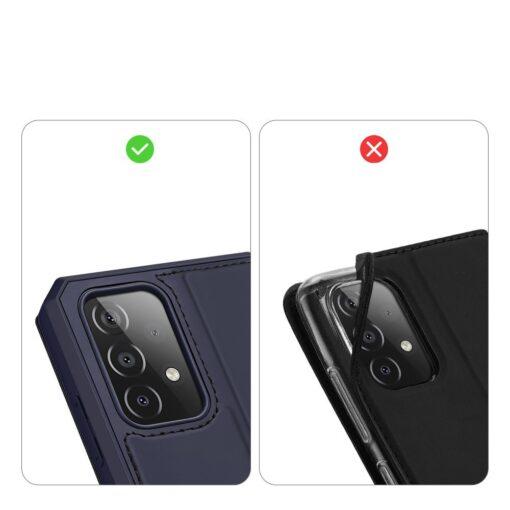 Samsung A52 kunstnahast kaaned kaarditaskuga DUX DUCIS Skin X sinine 8