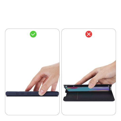 Samsung A52 kunstnahast kaaned kaarditaskuga DUX DUCIS Skin X sinine 9