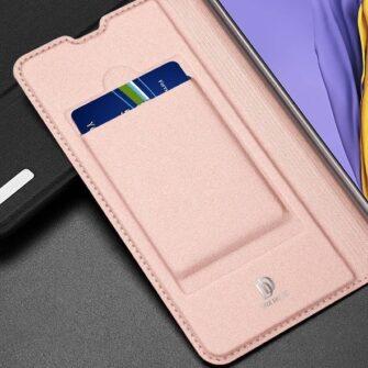 Samsung A71 kunstnahast kaaned kaarditaskuga DUX DUCIS Skin Pro roosa 14