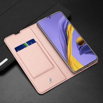 Samsung A71 kunstnahast kaaned kaarditaskuga DUX DUCIS Skin Pro roosa 19