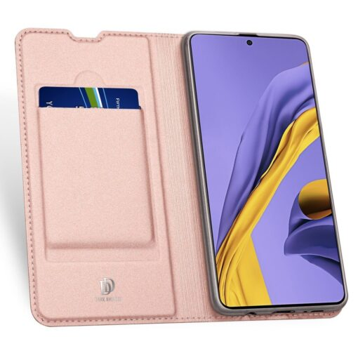Samsung A71 kunstnahast kaaned kaarditaskuga DUX DUCIS Skin Pro roosa 2