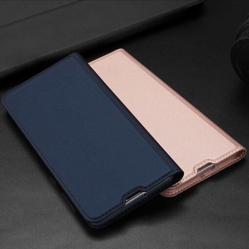 Samsung A71 kunstnahast kaaned kaarditaskuga DUX DUCIS Skin Pro roosa 20