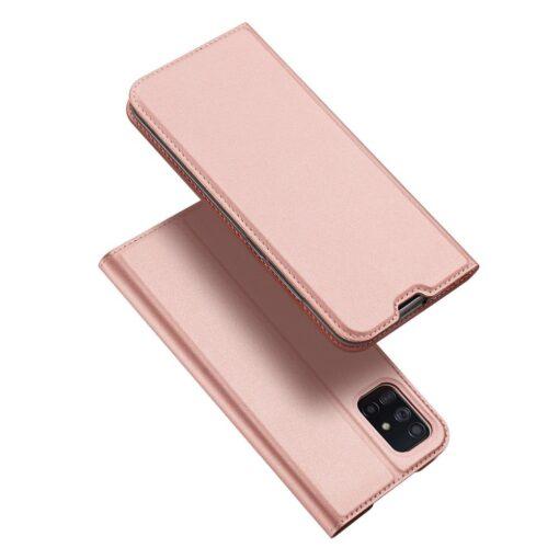 Samsung A71 kunstnahast kaaned kaarditaskuga DUX DUCIS Skin Pro roosa