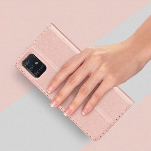 Samsung A71 kunstnahast kaaned kaarditaskuga DUX DUCIS Skin Pro roosa 6