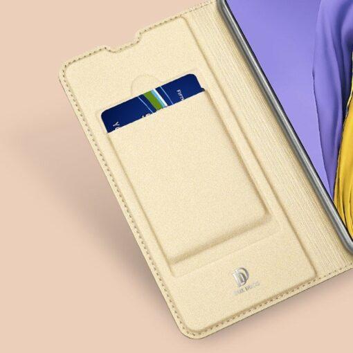 Samsung A71 kunstnahast kaaned kaarditaskuga DUX DUCIS Skin Pro roosa 9
