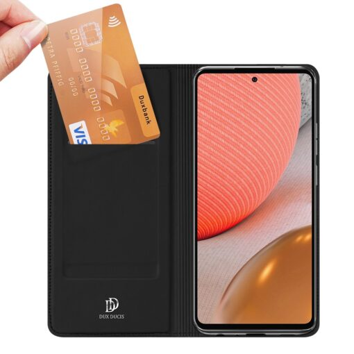 Samsung A72 kunstnahast kaaned kaarditaskuga DUX DUCIS Skin Pro must 6