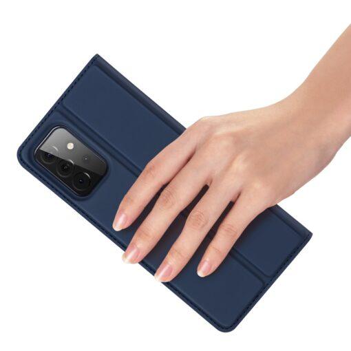 Samsung A72 kunstnahast kaaned kaarditaskuga DUX DUCIS Skin Pro sinine 3