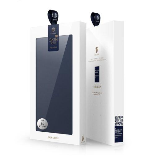 Samsung A72 kunstnahast kaaned kaarditaskuga DUX DUCIS Skin Pro sinine 4