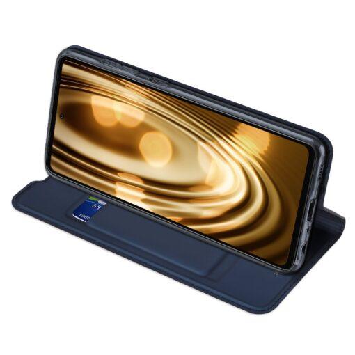 Samsung A72 kunstnahast kaaned kaarditaskuga DUX DUCIS Skin Pro sinine 5