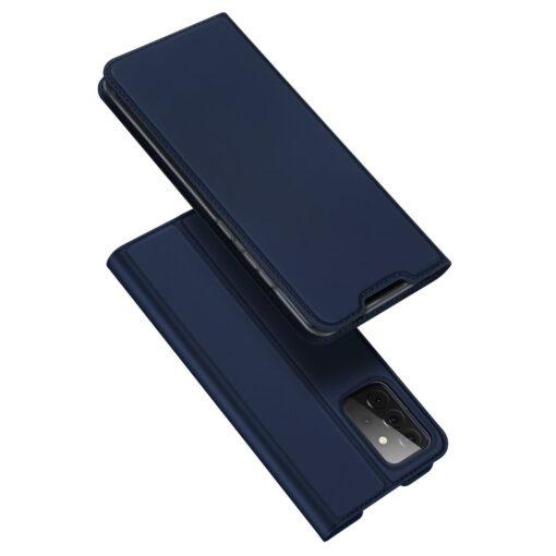 Samsung A72 kunstnahast kaaned kaarditaskuga DUX DUCIS Skin Pro sinine