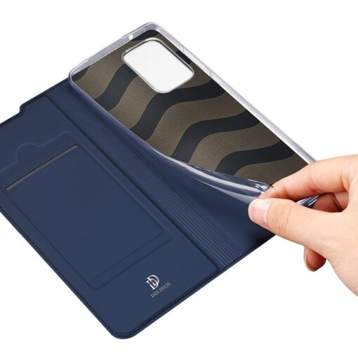 Samsung A72 kunstnahast kaaned kaarditaskuga DUX DUCIS Skin Pro sinine 6