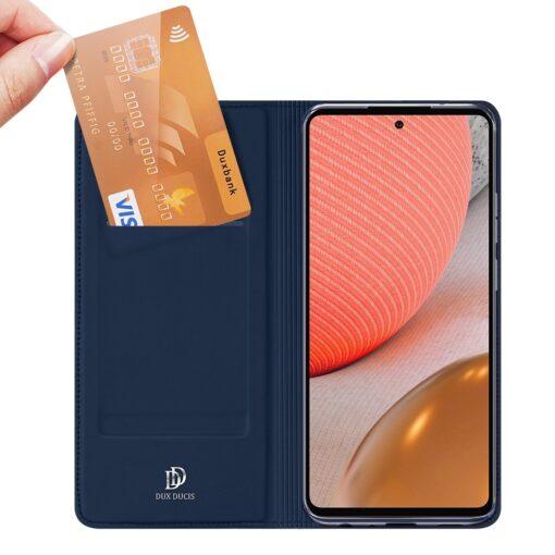 Samsung A72 kunstnahast kaaned kaarditaskuga DUX DUCIS Skin Pro sinine 7