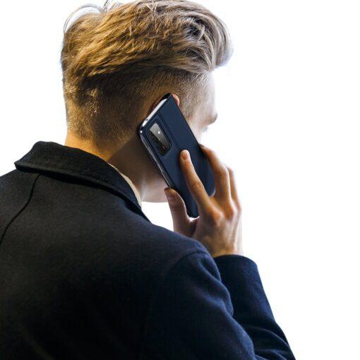 Samsung A72 kunstnahast kaaned kaarditaskuga DUX DUCIS Skin Pro sinine 8