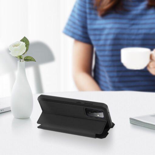 Samsung A72 kunstnahast kaaned kaarditaskuga DUX DUCIS Skin X must 3