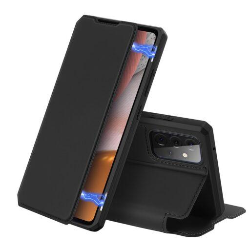 Samsung A72 kunstnahast kaaned kaarditaskuga DUX DUCIS Skin X must