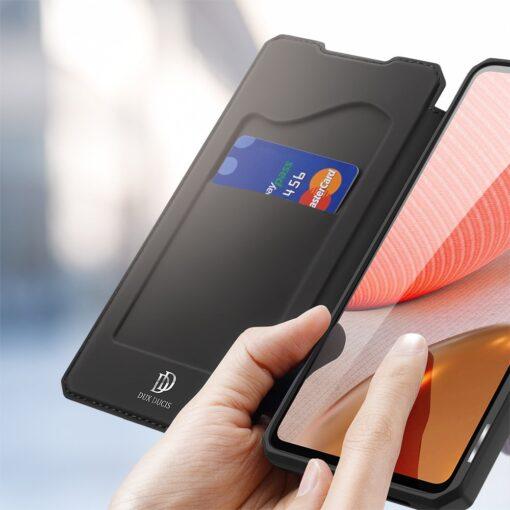 Samsung A72 kunstnahast kaaned kaarditaskuga DUX DUCIS Skin X must 7