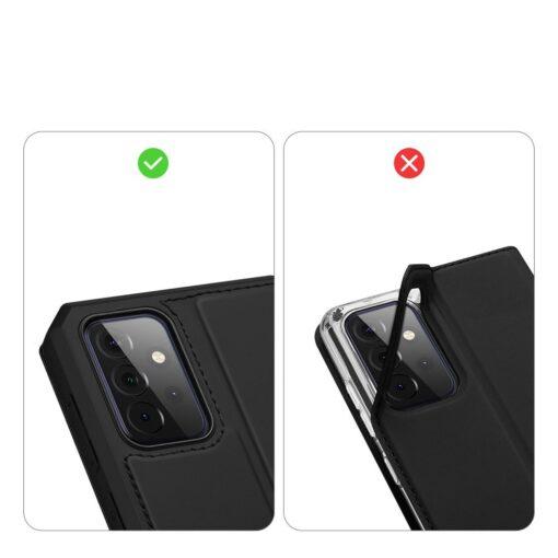 Samsung A72 kunstnahast kaaned kaarditaskuga DUX DUCIS Skin X must 9