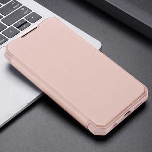 Samsung A72 kunstnahast kaaned kaarditaskuga DUX DUCIS Skin X roosa 11
